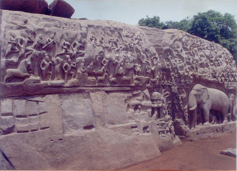 Image stone carved elephant herd at mahabalipuram