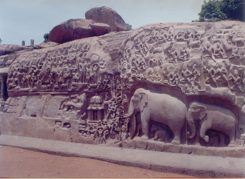 Image stone carved elephants at mahabalipuram chennai
